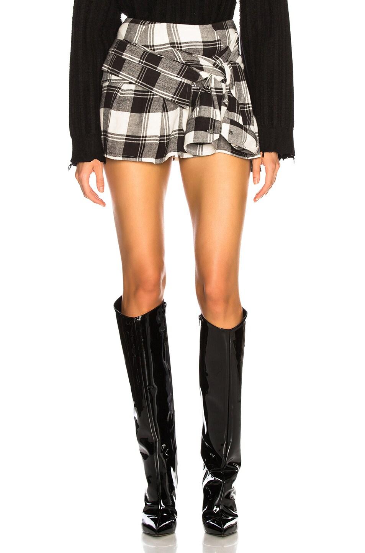 Image 1 of Faith Connexion Mini Check Shirt Skirt in Black & White