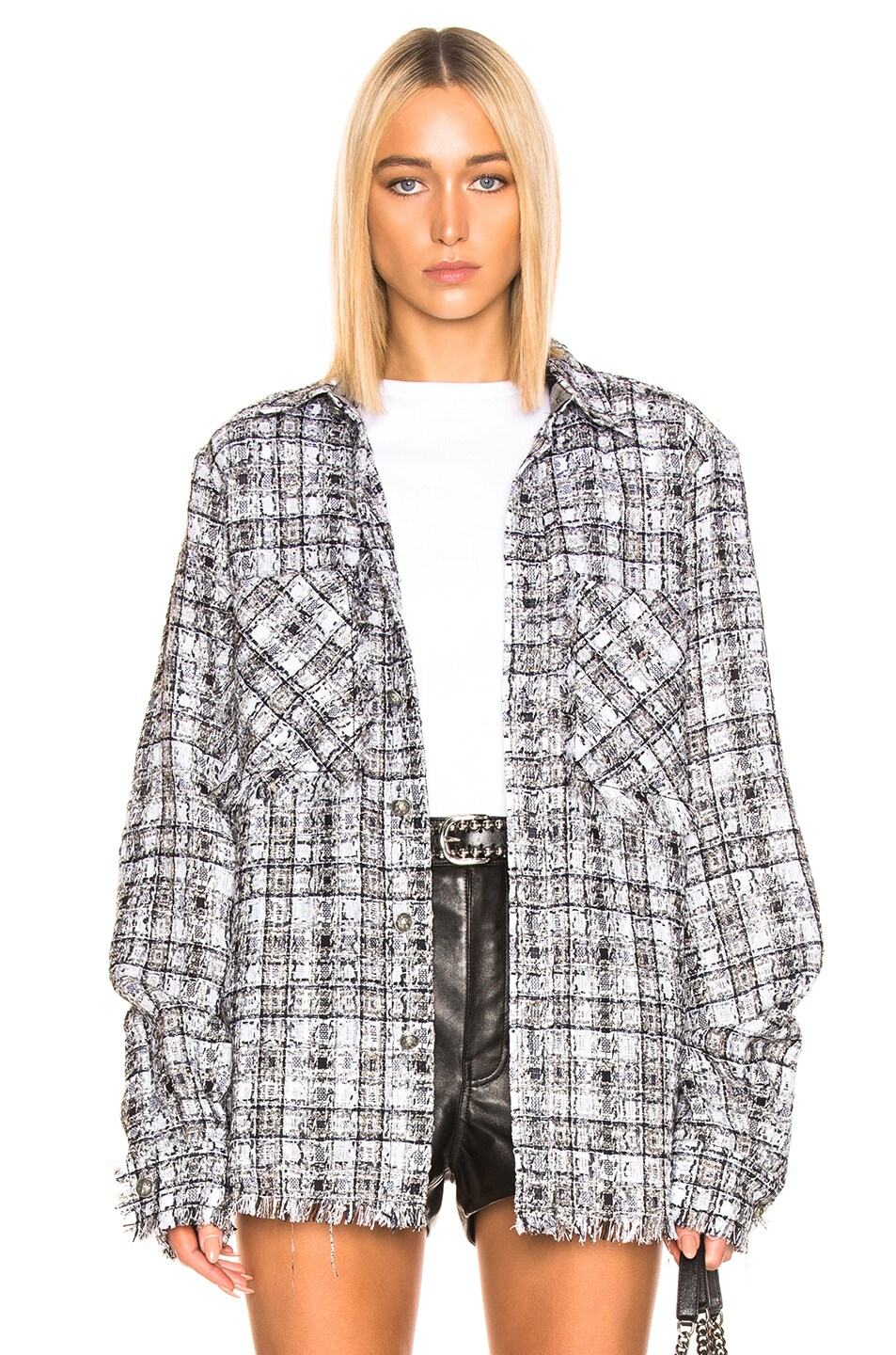 Image 1 of Faith Connexion Tweed Oversized Top in Black & White