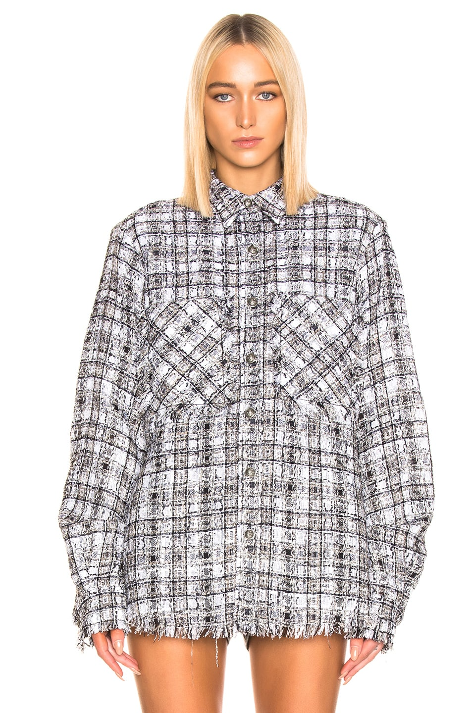 Image 2 of Faith Connexion Tweed Oversized Top in Black & White