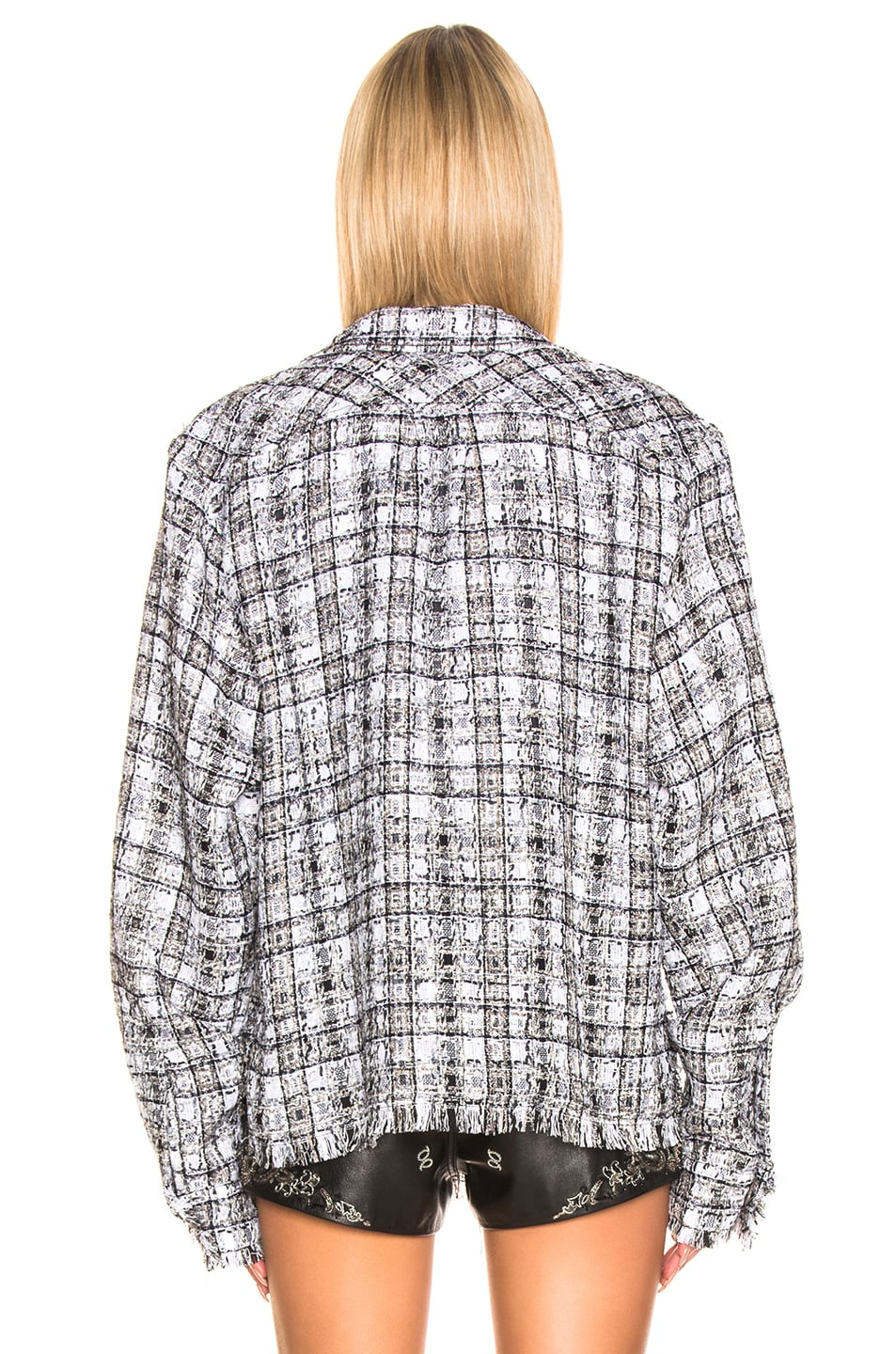 Image 4 of Faith Connexion Tweed Oversized Top in Black & White