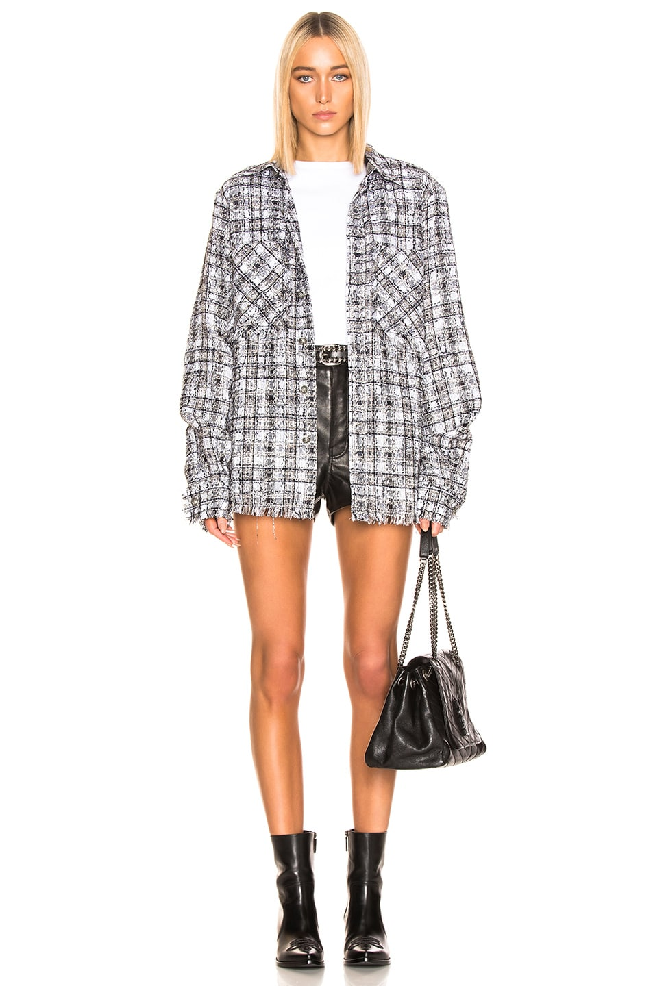 Image 5 of Faith Connexion Tweed Oversized Top in Black & White