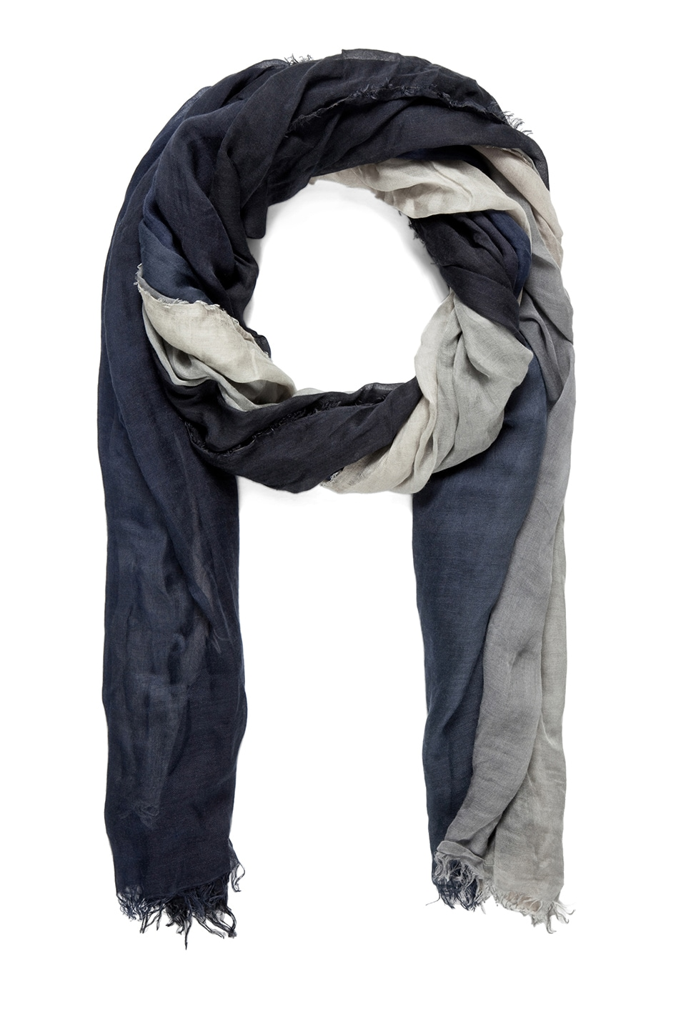 Image 1 of Faliero Sarti Ginevra Silk Ombre Scarf in Grey & Navy