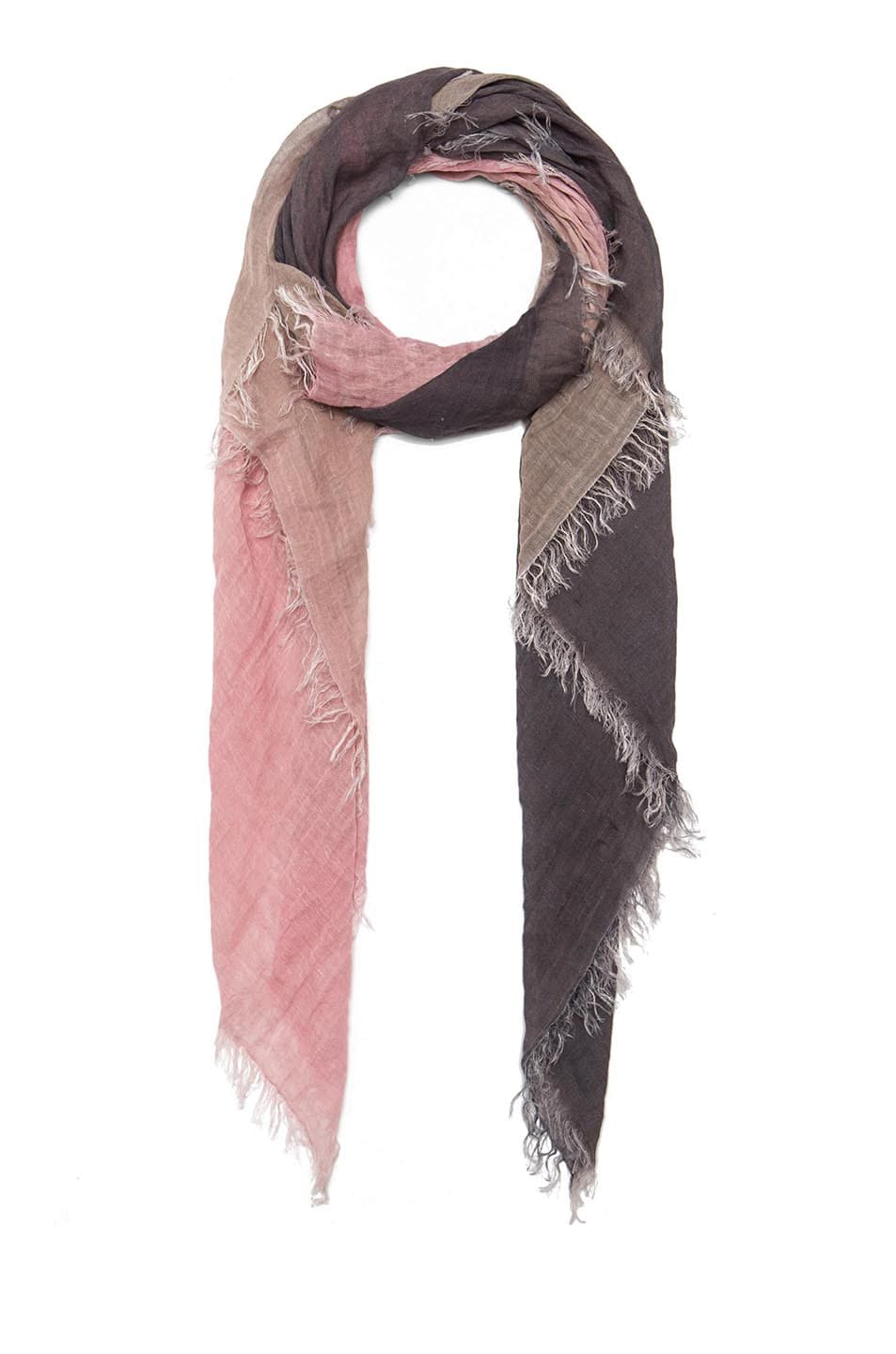 Image 2 of Faliero Sarti Shirly Linen & Cotton Scarf in Grey & Pink