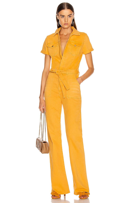 Image 1 of FRAME Le Flare De Francoise Belted Jumpsuit in Marigold