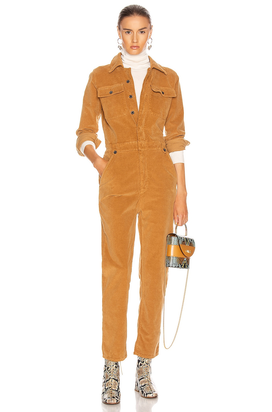 Image 1 of FRAME Caitlin Cord Coverall in Camel