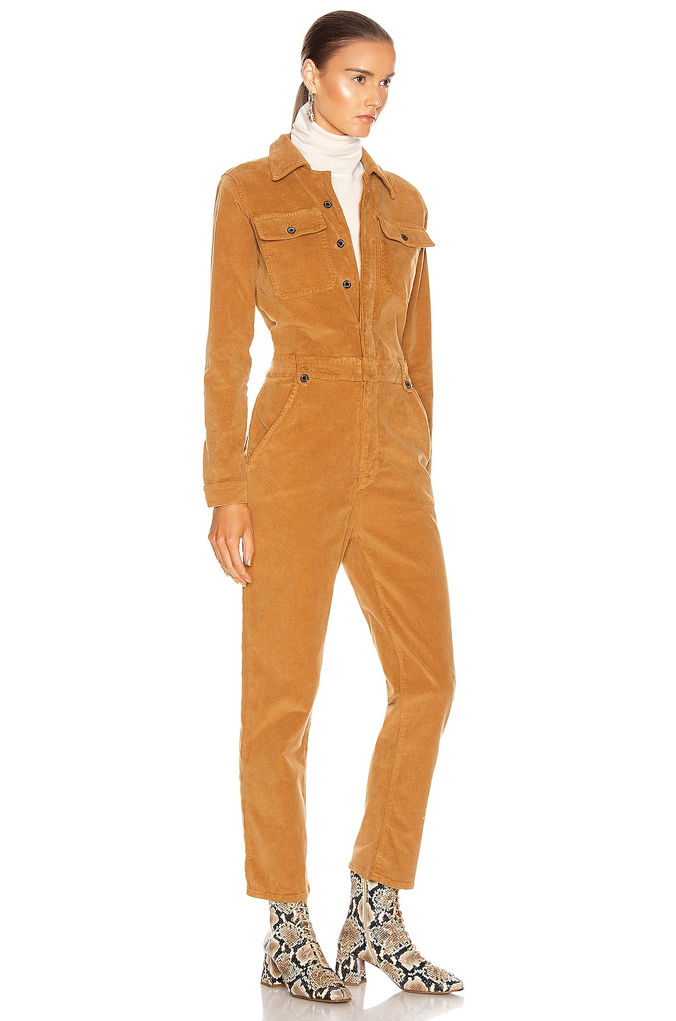 Image 2 of FRAME Caitlin Cord Coverall in Camel