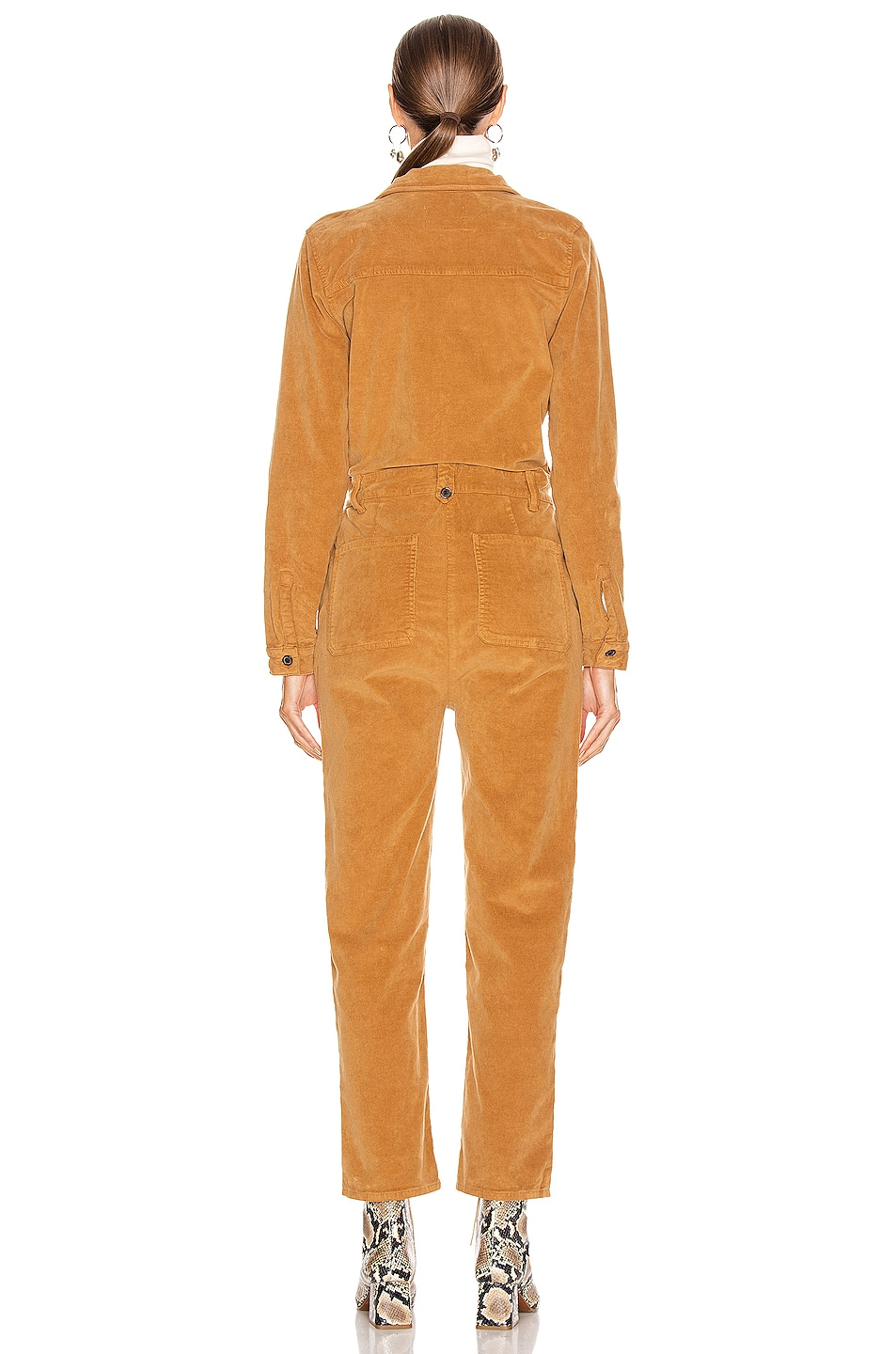 Image 3 of FRAME Caitlin Cord Coverall in Camel