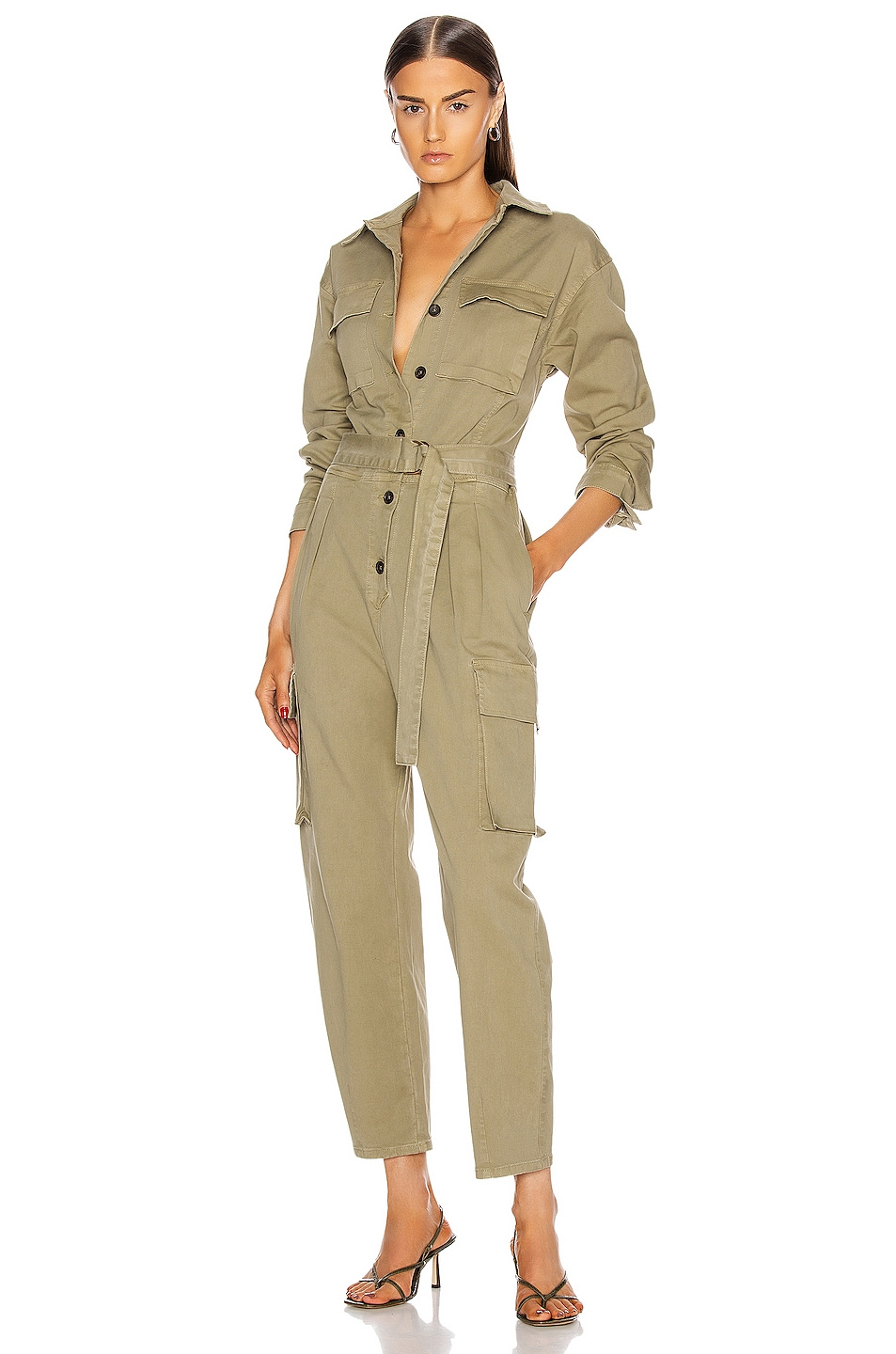 Image 1 of FRAME Safari Boiler Jumpsuit in Washed OD