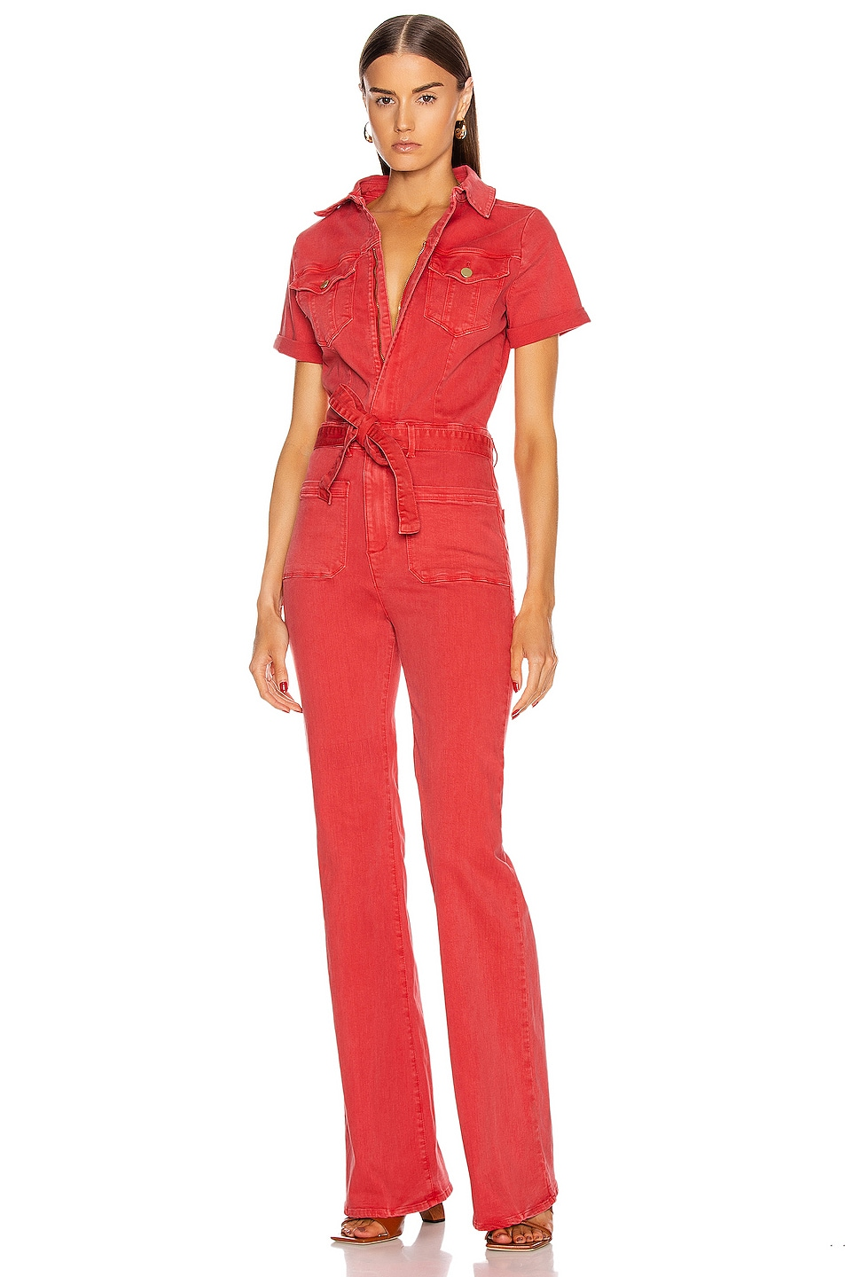 Image 1 of FRAME Le Bardot Jumpsuit in Cherry