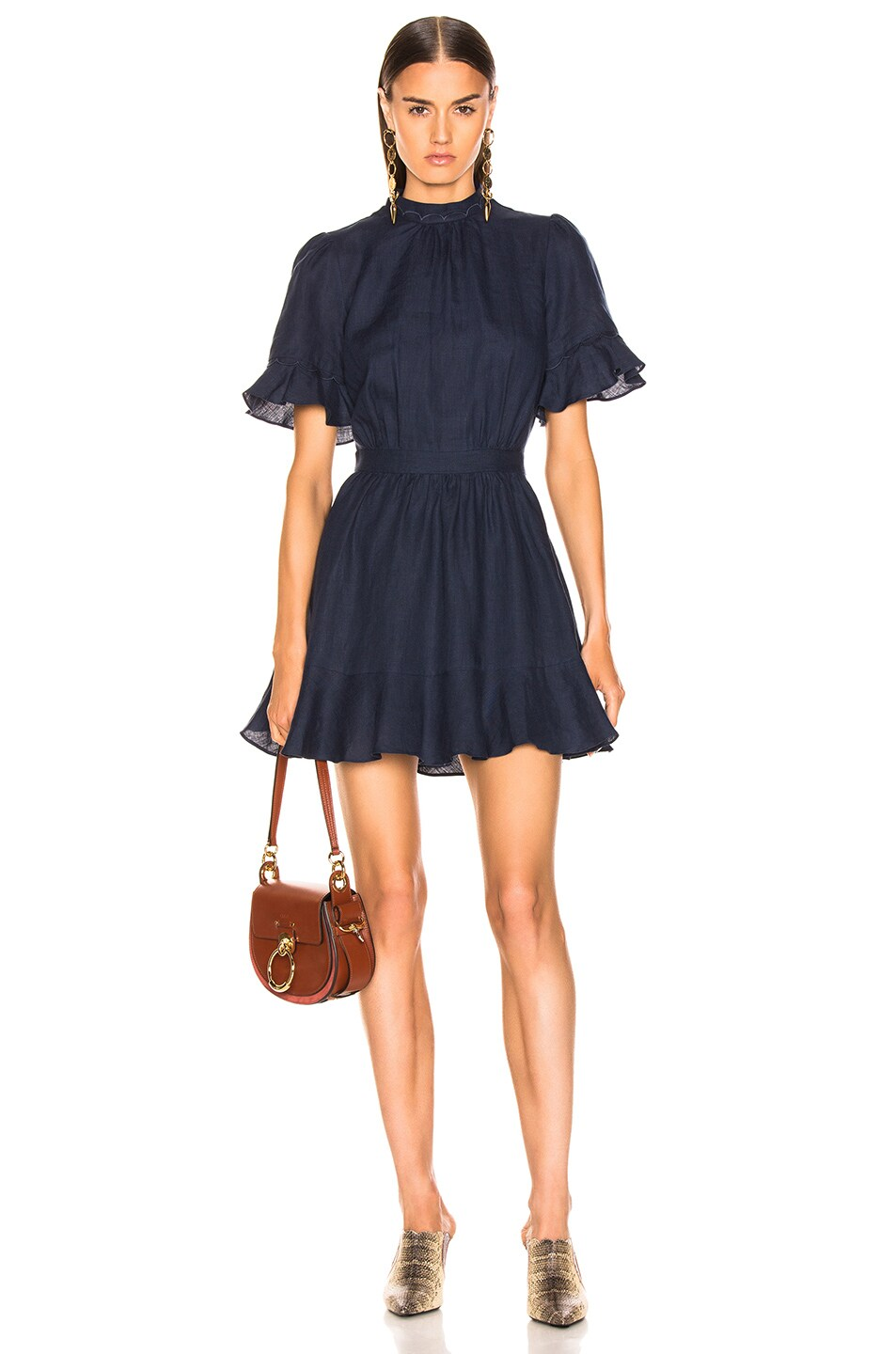 Image 1 of FRAME Scallop Flounce Dress in Navy