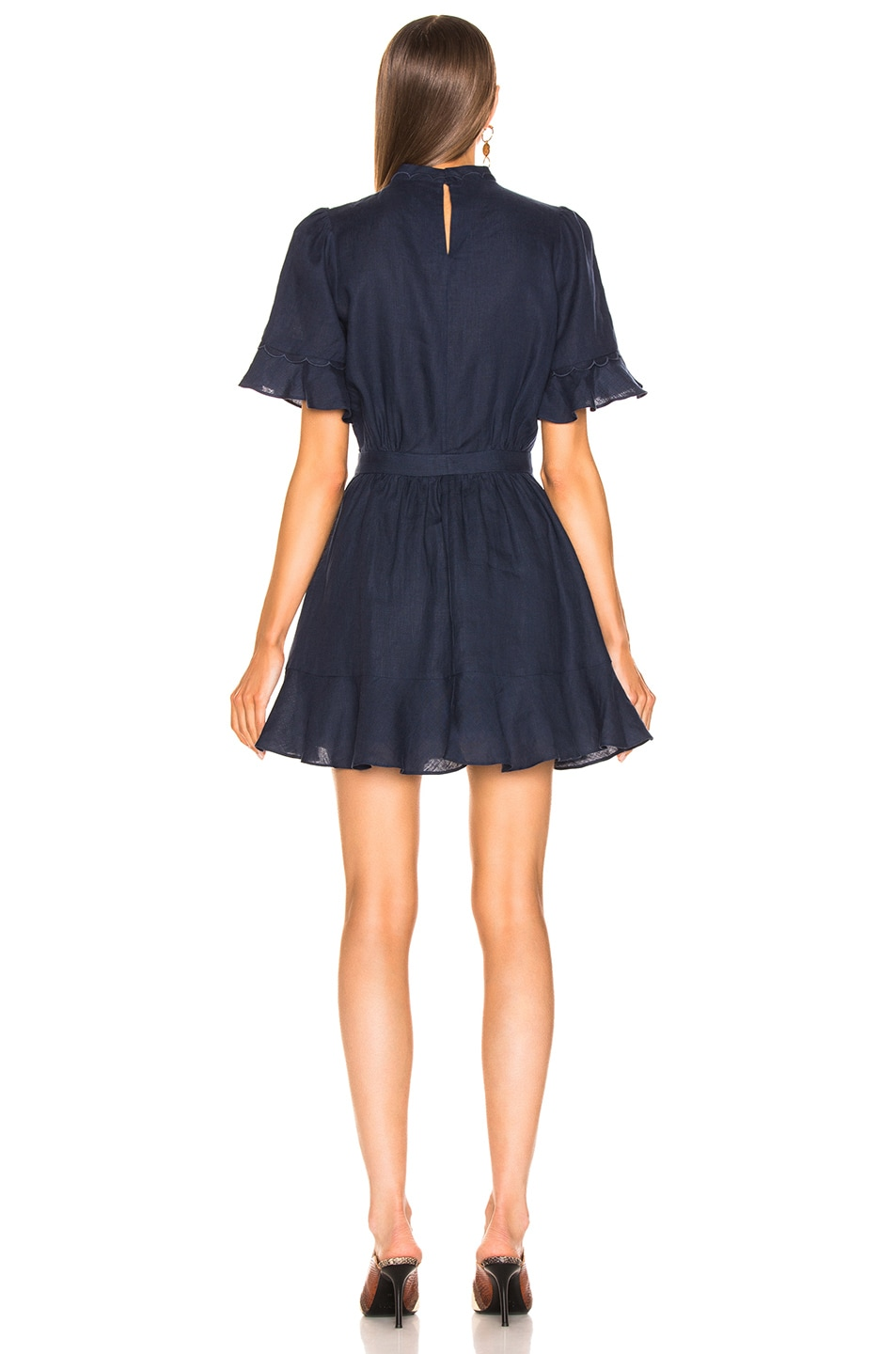 Image 3 of FRAME Scallop Flounce Dress in Navy