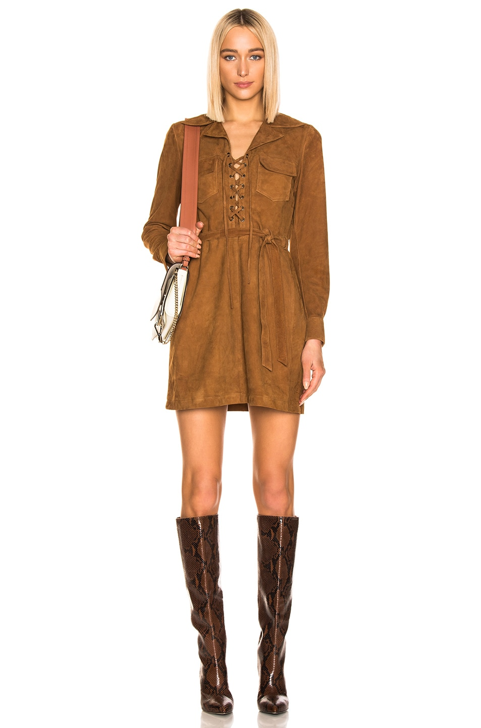Image 1 of FRAME Lace Up Dress in Terracotta