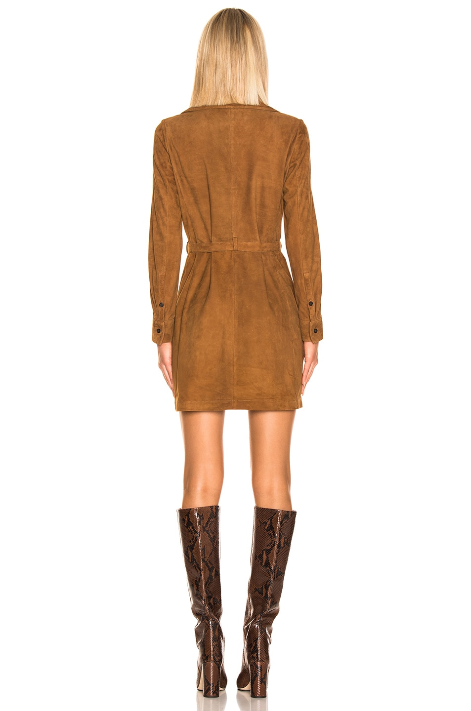 Image 3 of FRAME Lace Up Dress in Terracotta