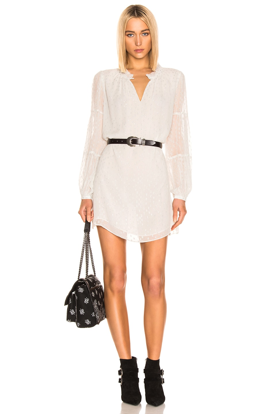 Image 1 of FRAME Shirred Mock Dress in Off White Multi