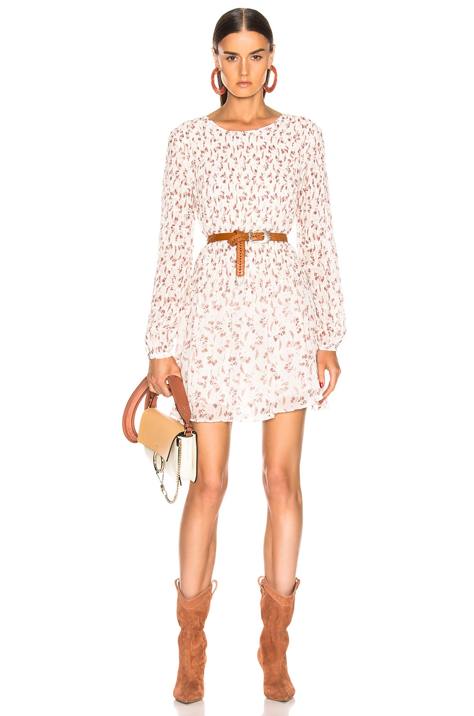 Image 1 of FRAME Smoked Floral Dress in Off White Multi