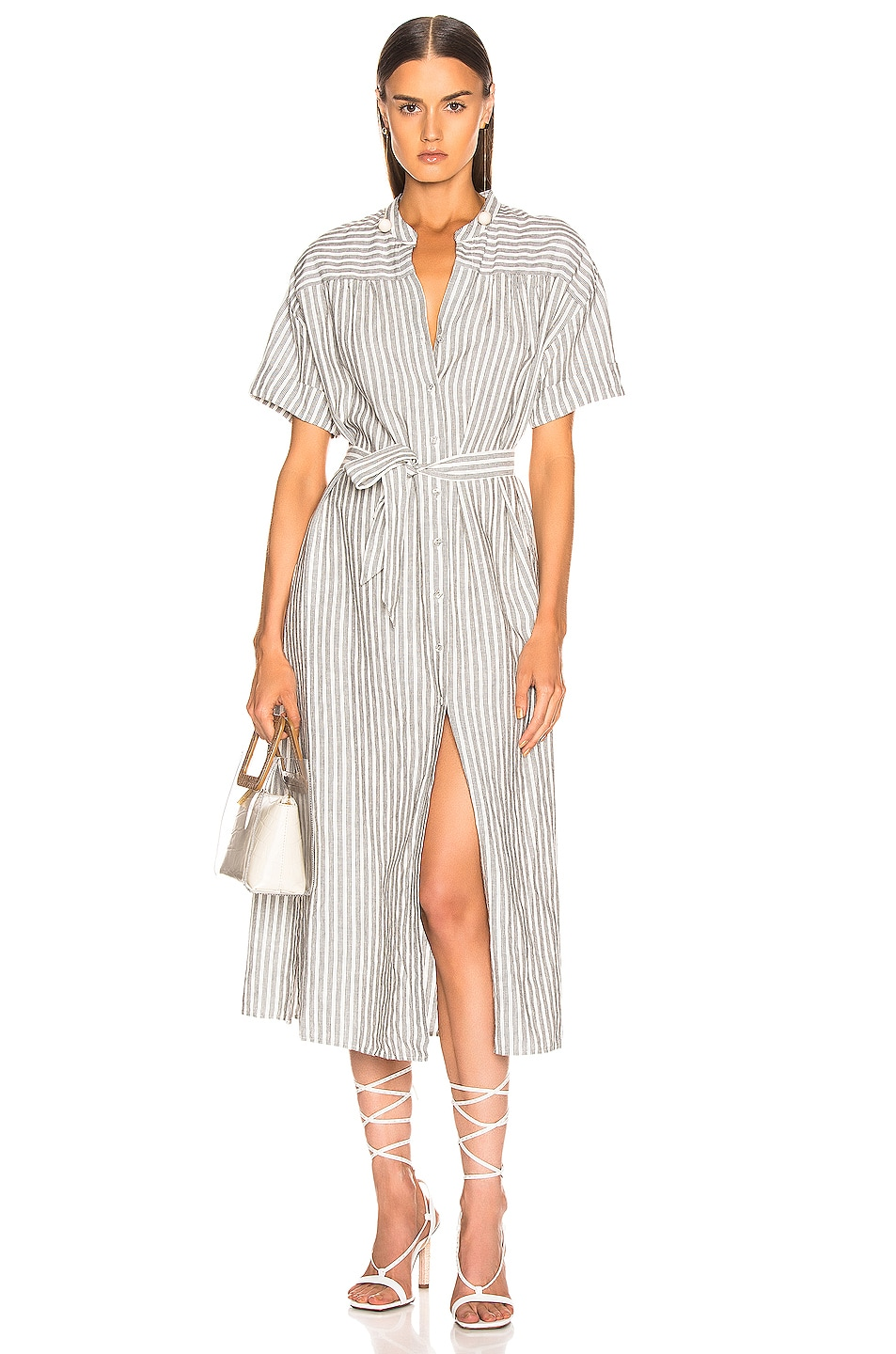 Image 1 of FRAME Button Up Wrap Dress in Off White Multi