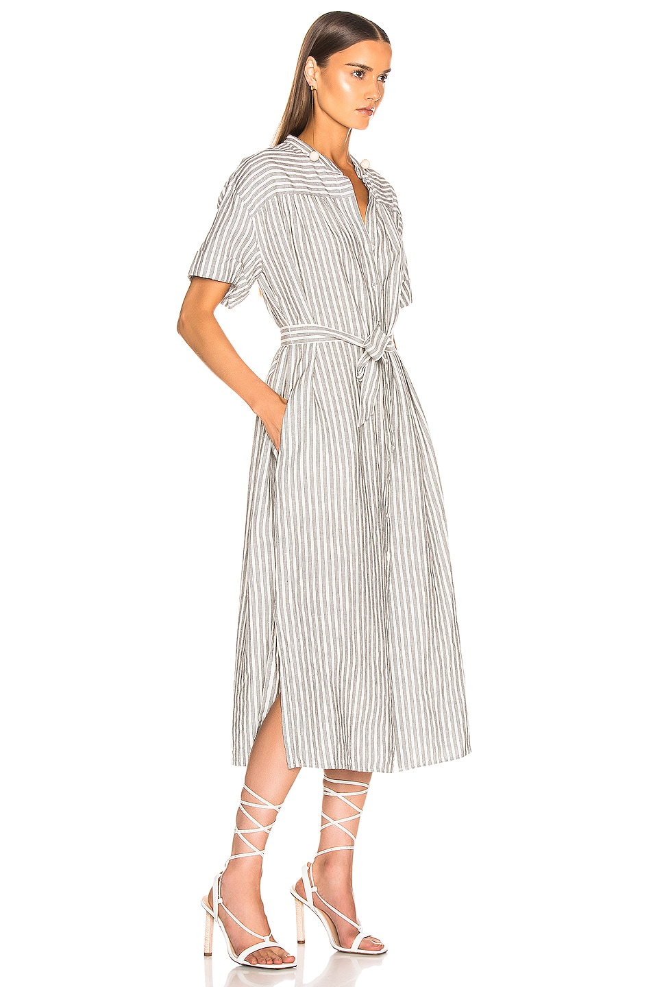Image 2 of FRAME Button Up Wrap Dress in Off White Multi