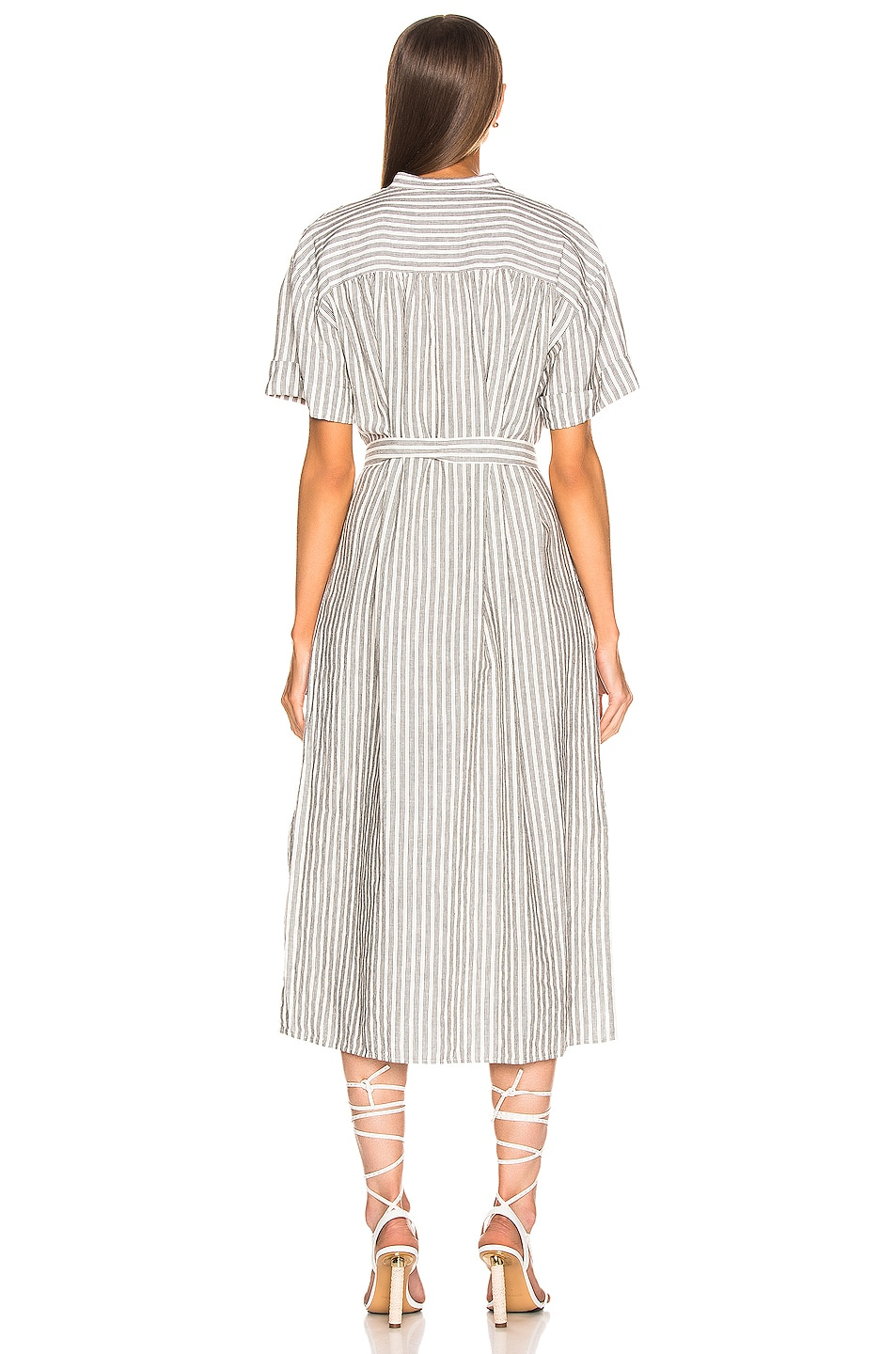Image 3 of FRAME Button Up Wrap Dress in Off White Multi