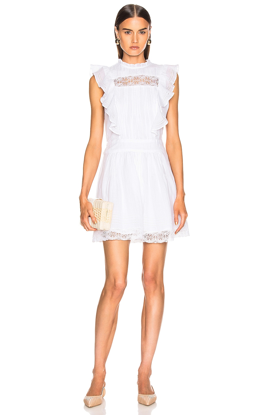 Image 1 of FRAME Lace Pintuck Dress in Blanc