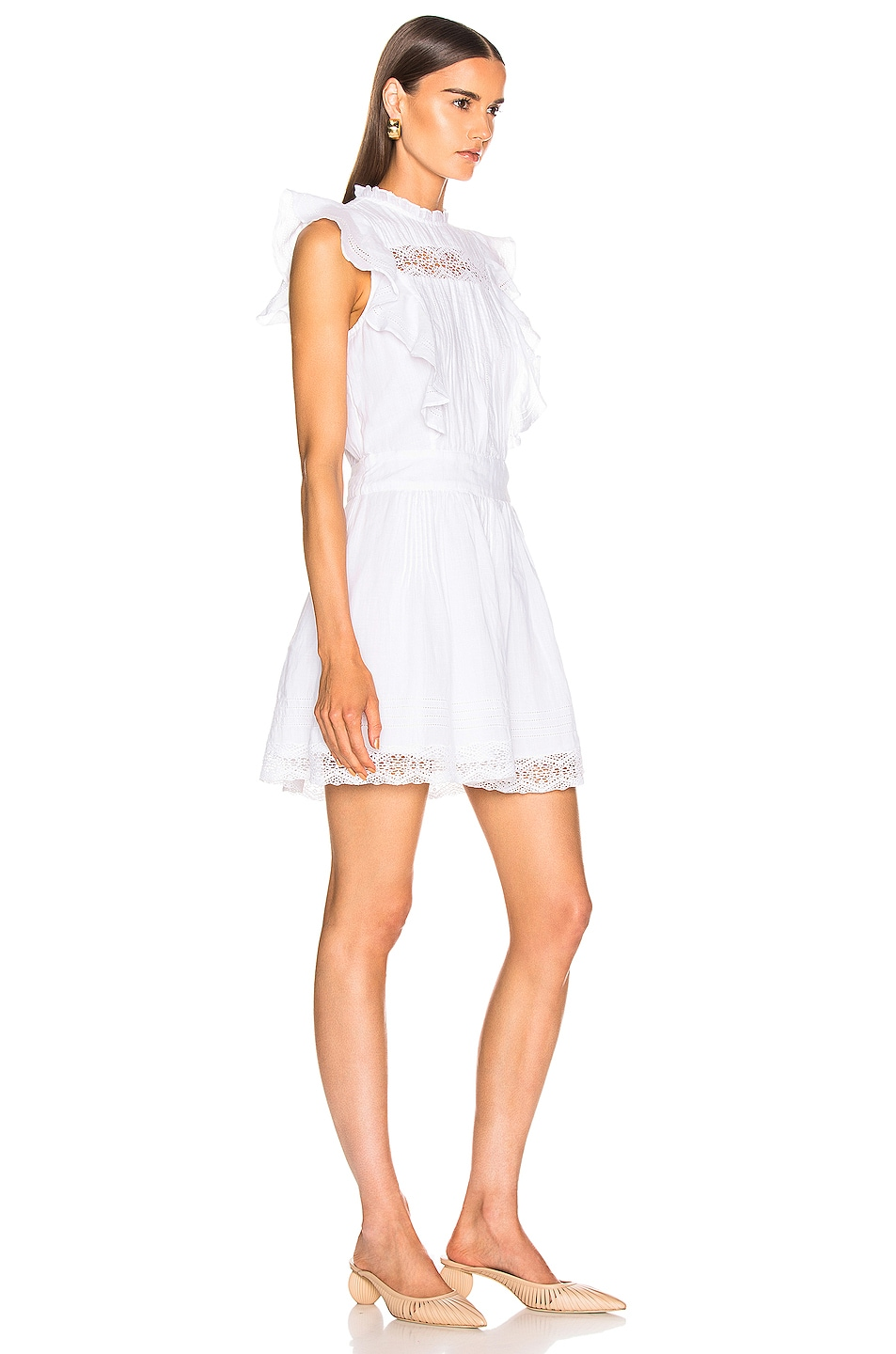 Image 2 of FRAME Lace Pintuck Dress in Blanc