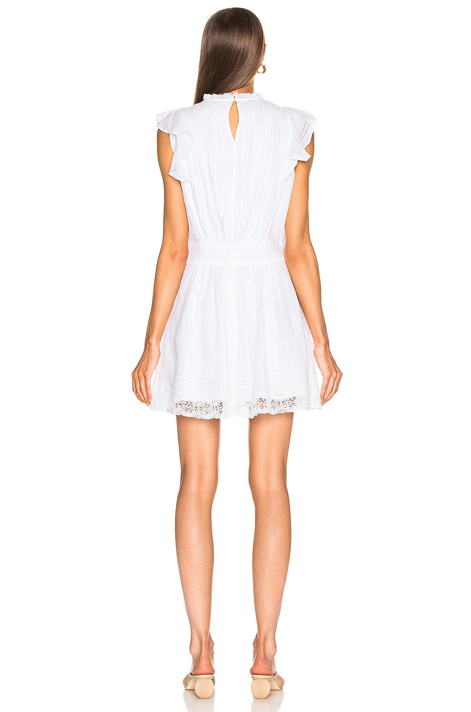 Image 3 of FRAME Lace Pintuck Dress in Blanc