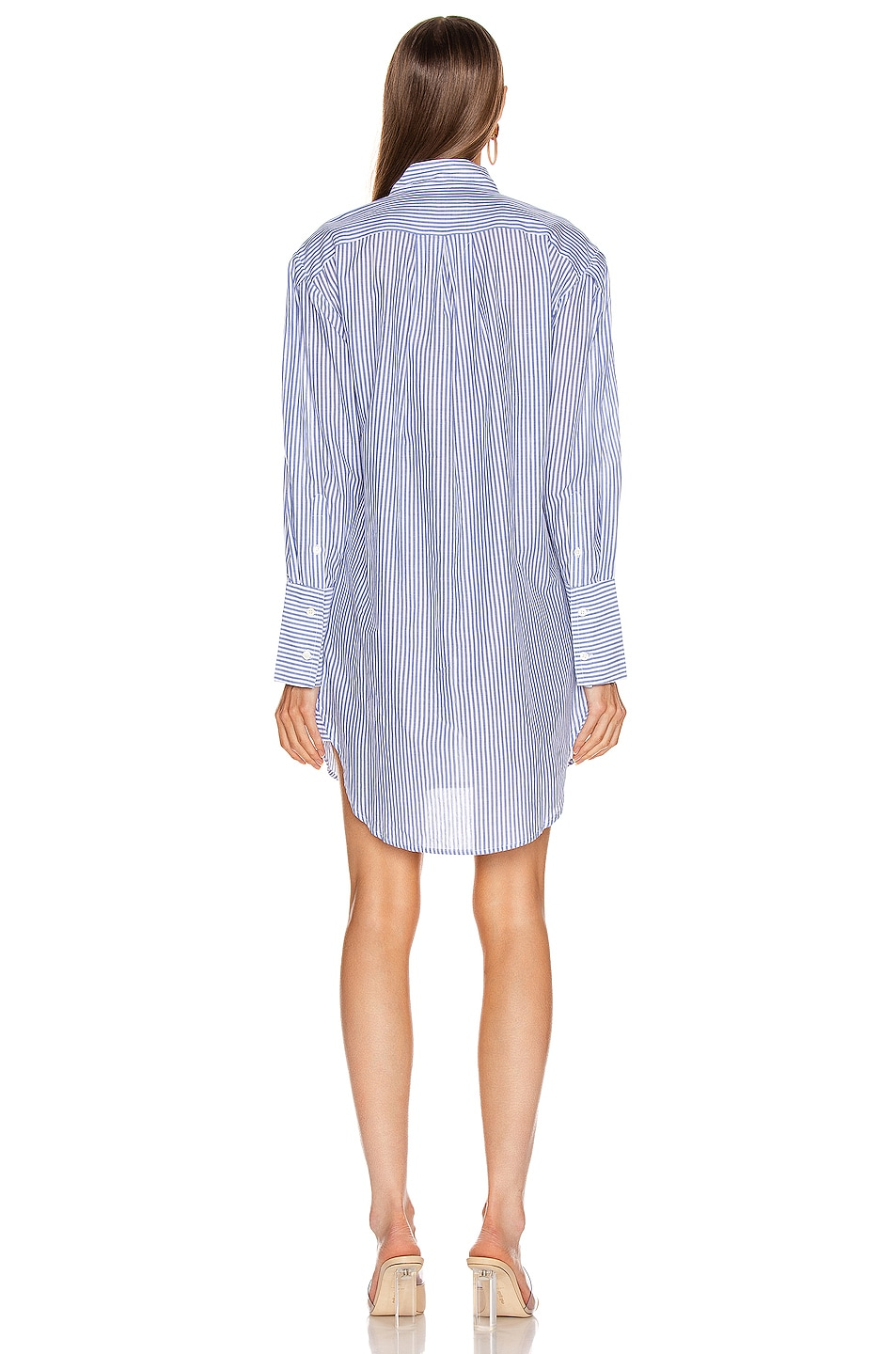 Image 3 of FRAME Pleated Clean Collar Dress in Navy Multi