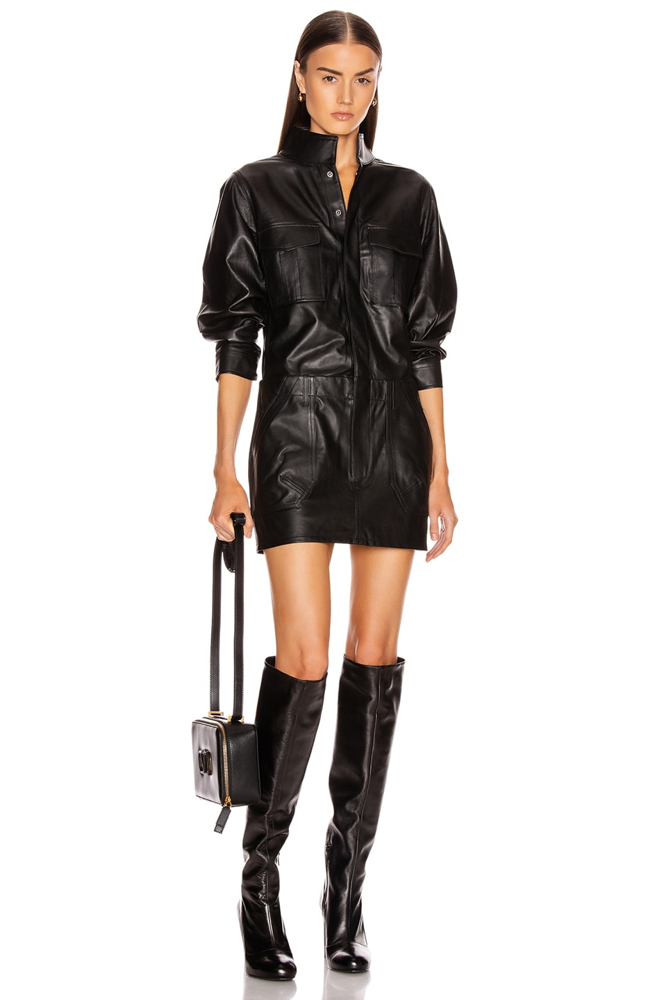 Image 1 of FRAME Leather Cargo Dress in Noir