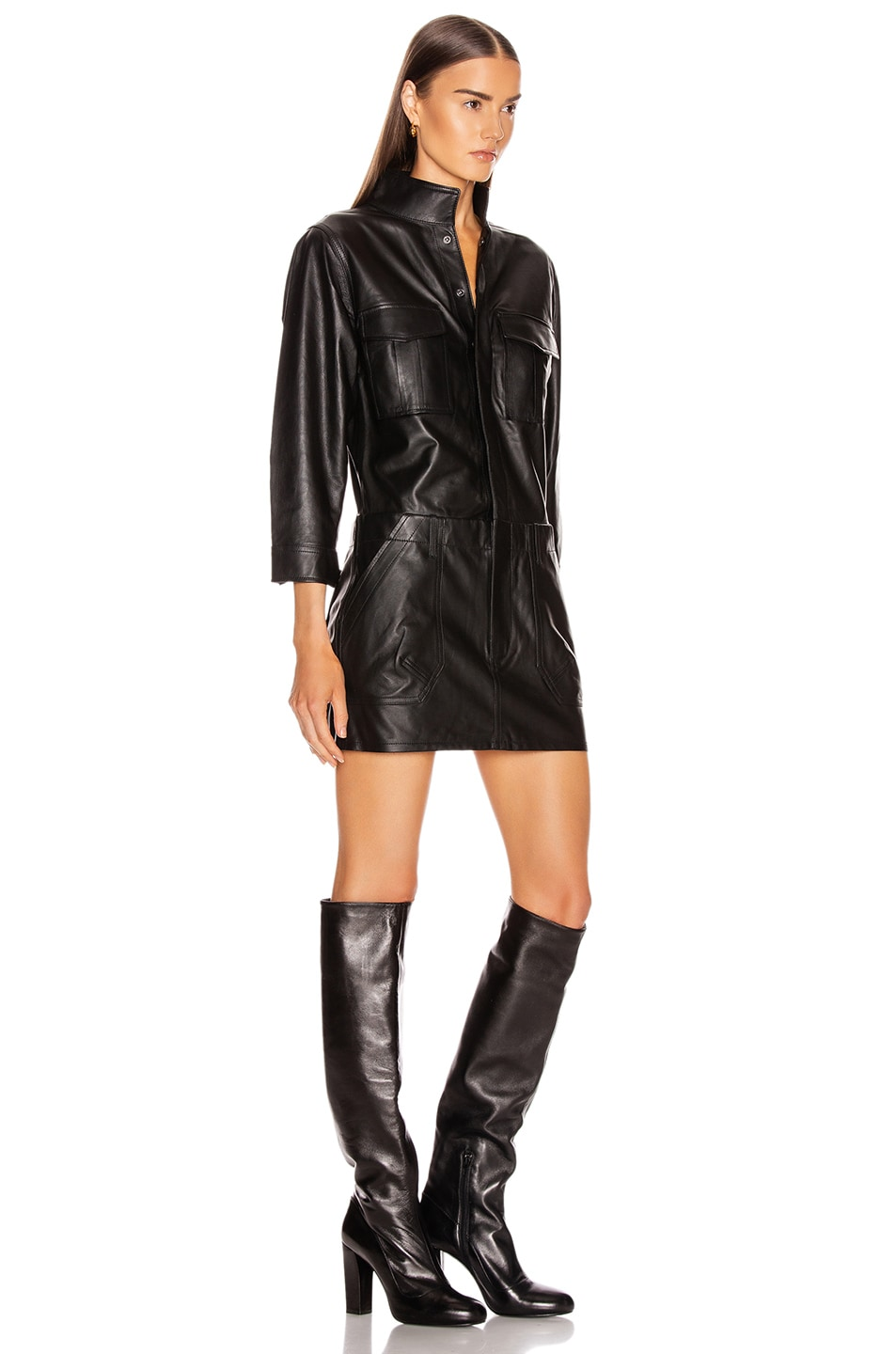 Image 2 of FRAME Leather Cargo Dress in Noir