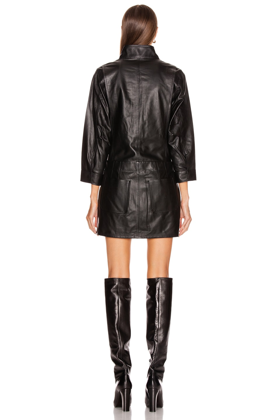 Image 3 of FRAME Leather Cargo Dress in Noir