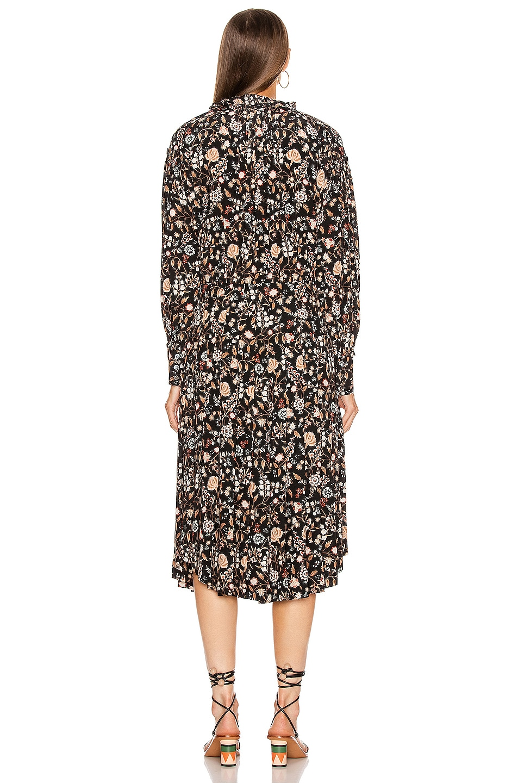 Image 3 of FRAME Ruffle Front Dress in Noir Multi