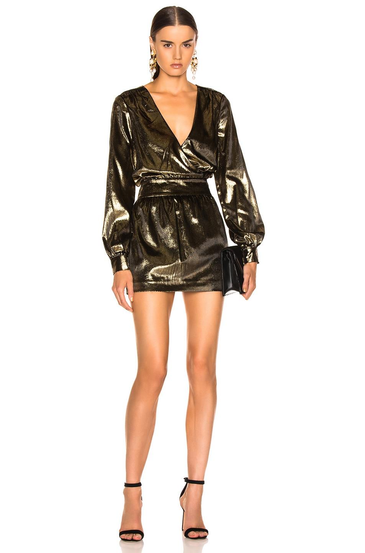 Image 1 of FRAME Metallic Velvet Dress in Gold