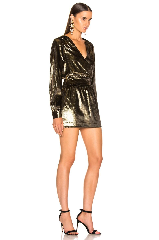 Image 2 of FRAME Metallic Velvet Dress in Gold