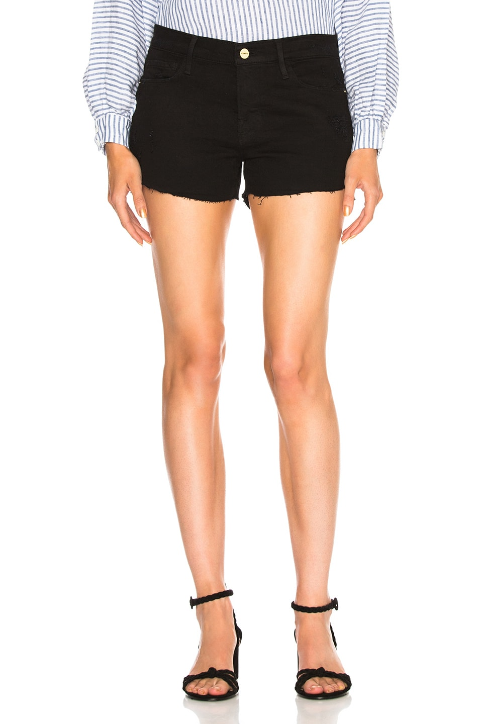 Image 1 of FRAME Le Cutoff Short in Noir Rookley