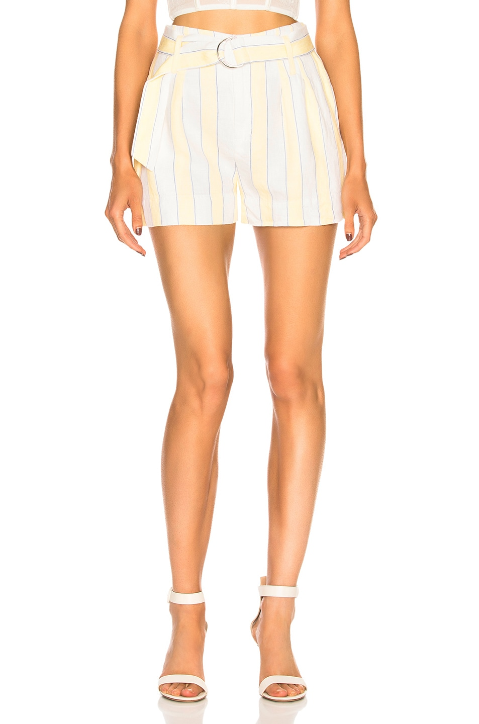 Image 1 of FRAME Stripe Short in Golden Haze Multi