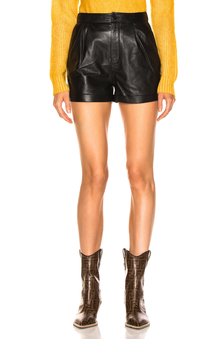 Image 1 of FRAME Pleated Culotte Short in Noir