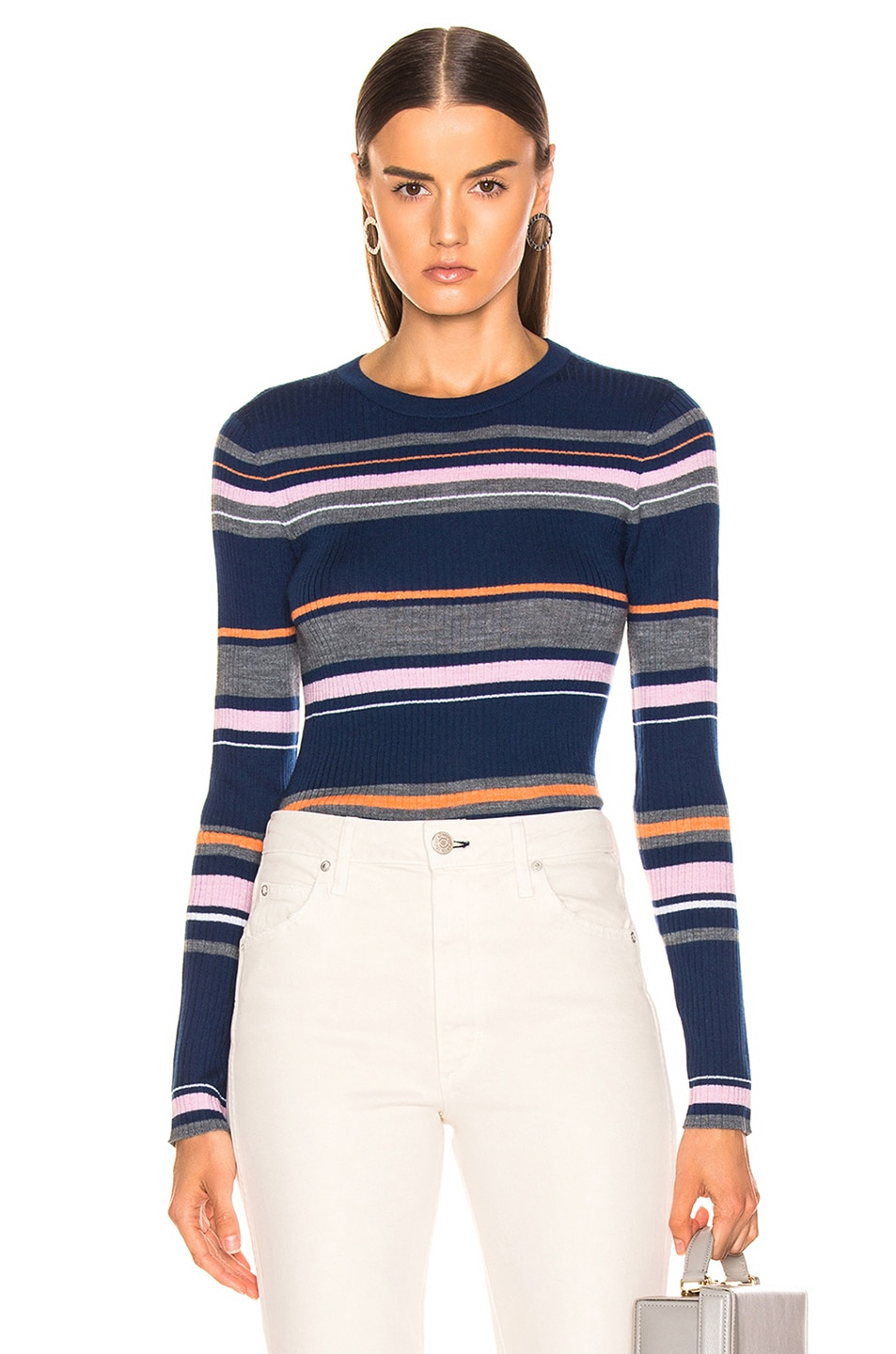Image 1 of FRAME Panel Stripe Crew Sweater in Lilac Multi