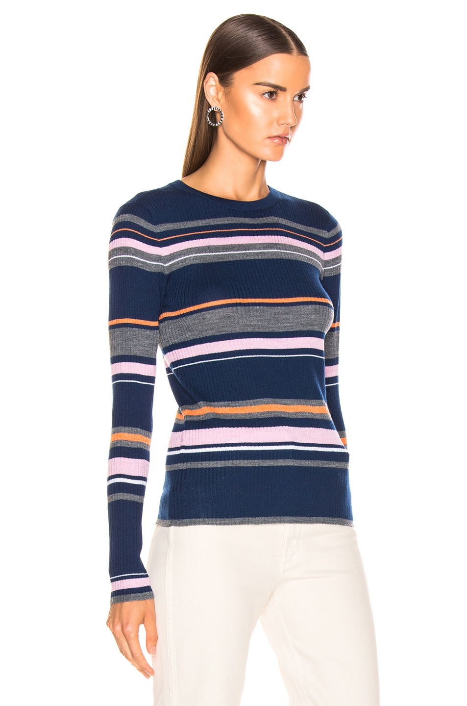 Image 2 of FRAME Panel Stripe Crew Sweater in Lilac Multi