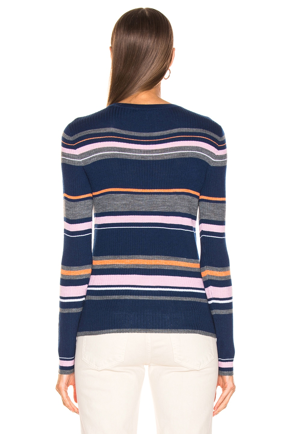 Image 3 of FRAME Panel Stripe Crew Sweater in Lilac Multi