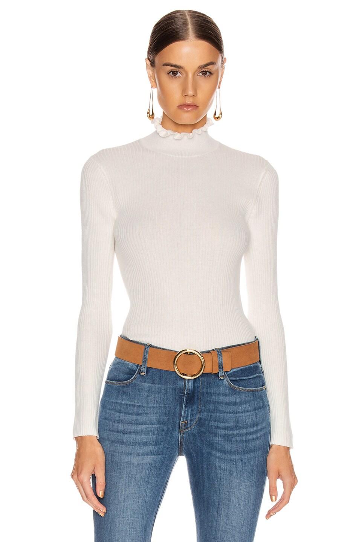 Frame Tops Ruffle Turtleneck Sweater