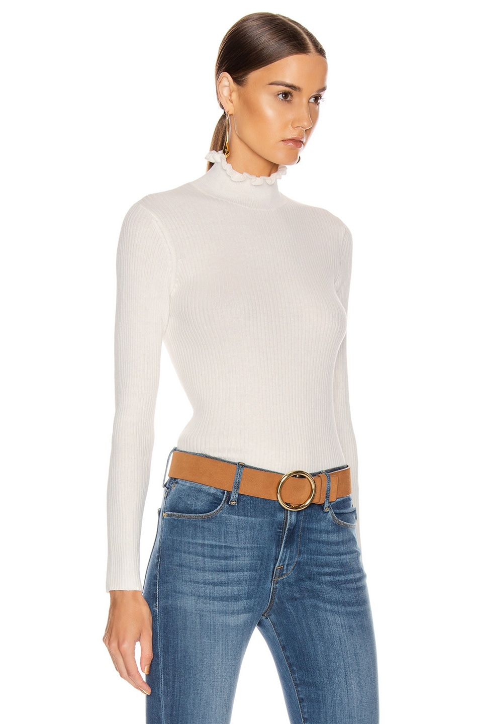 Image 2 of FRAME Ruffle Turtleneck Sweater in Off White