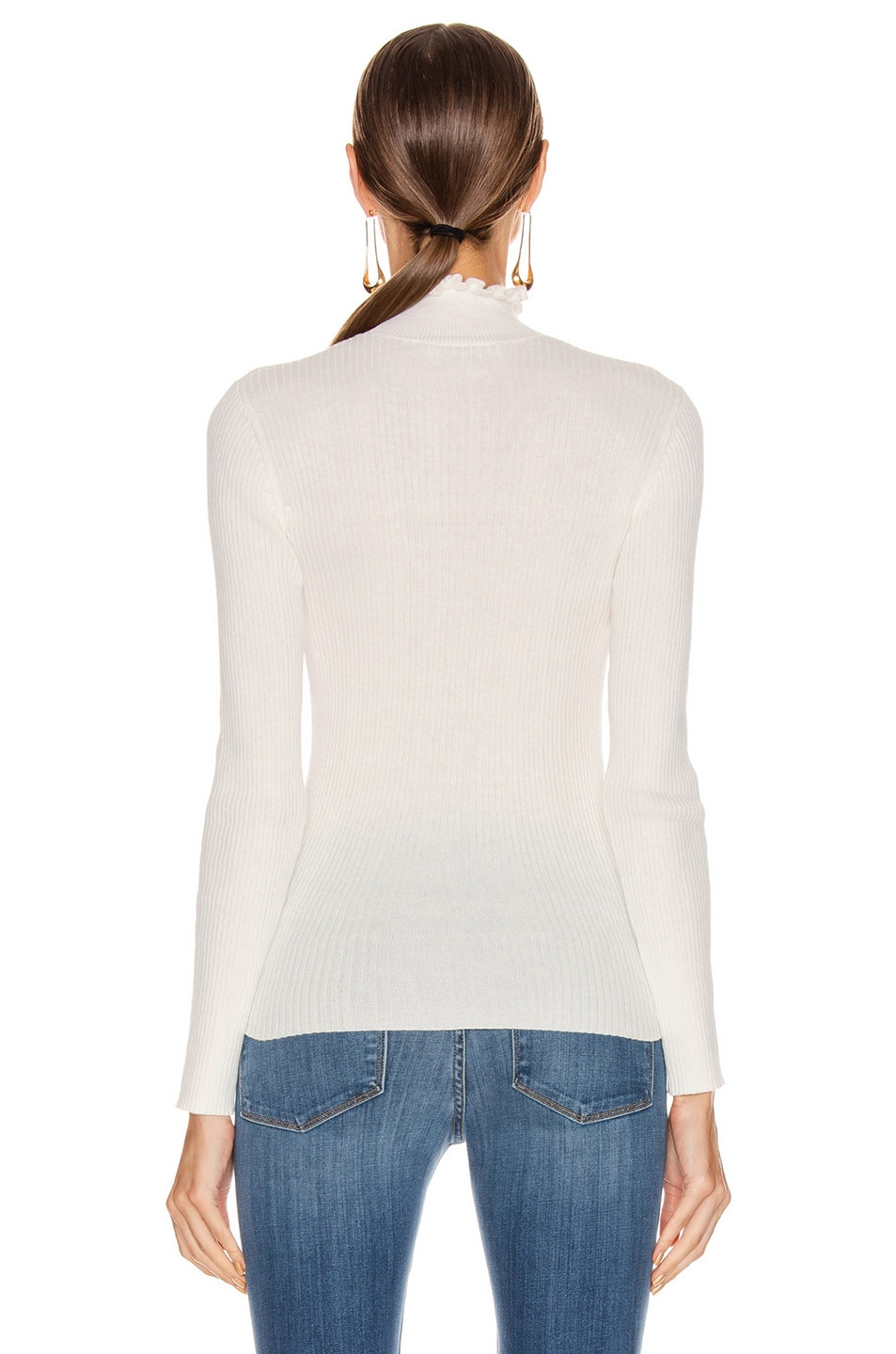 Image 3 of FRAME Ruffle Turtleneck Sweater in Off White
