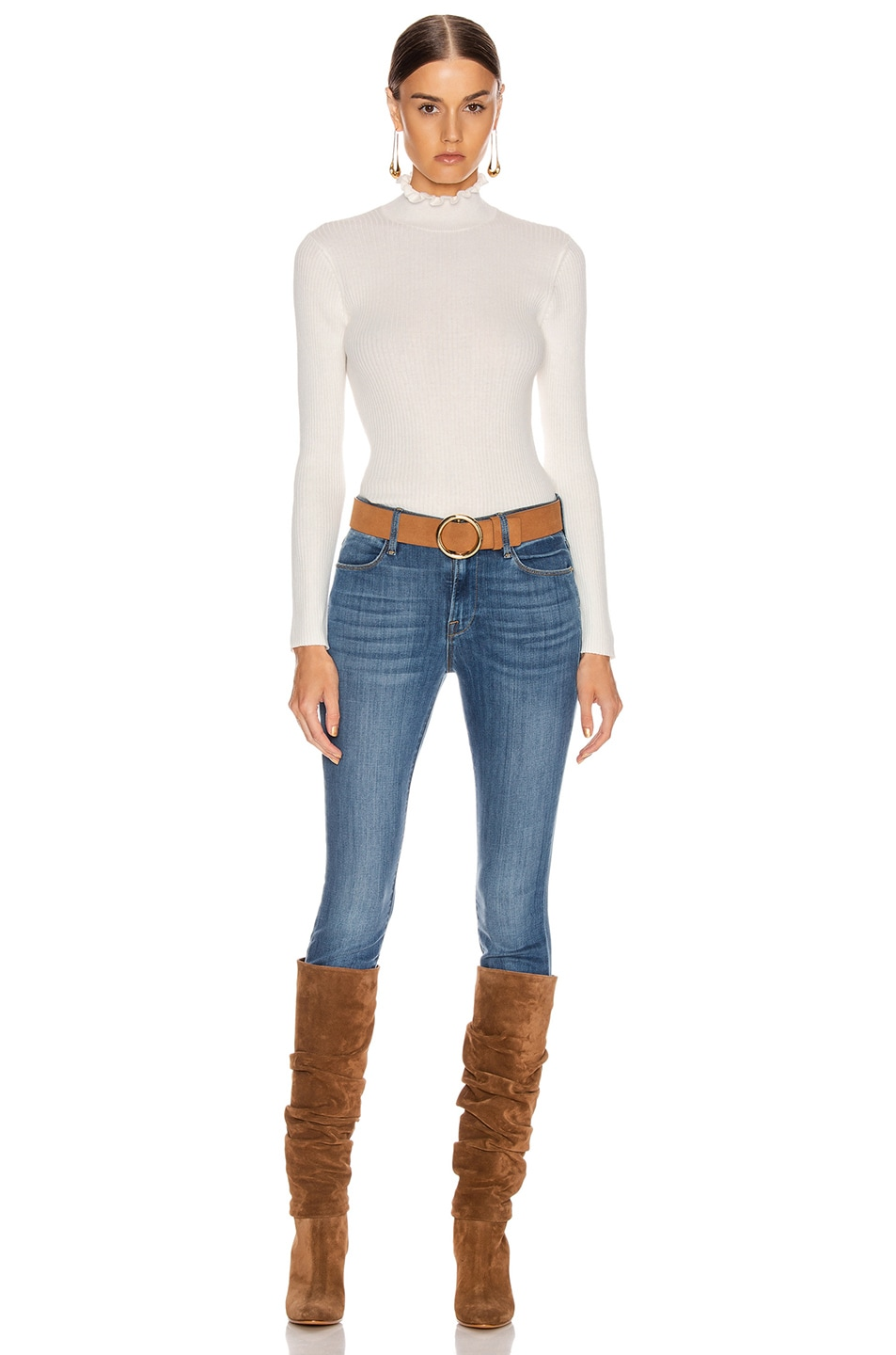 Image 4 of FRAME Ruffle Turtleneck Sweater in Off White