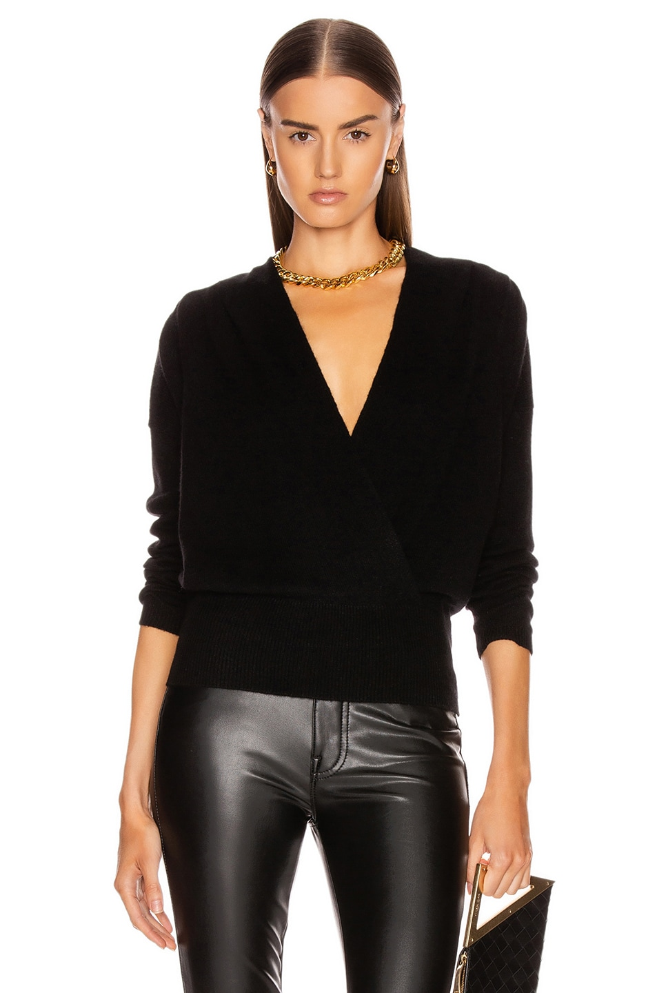 Image 1 of FRAME Criss Cross Sweater in Noir
