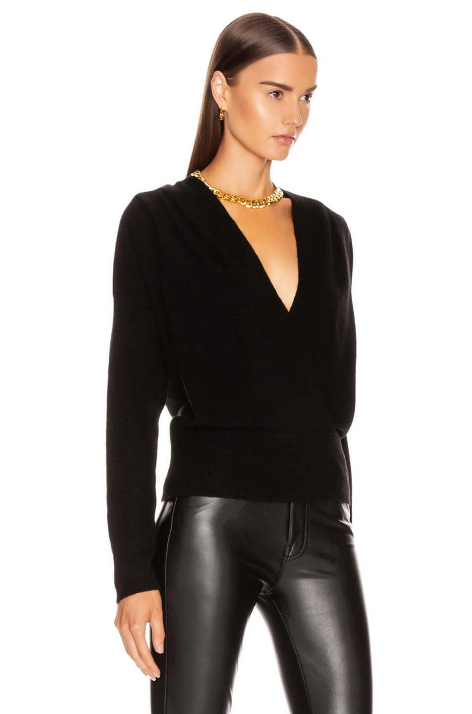Image 2 of FRAME Criss Cross Sweater in Noir