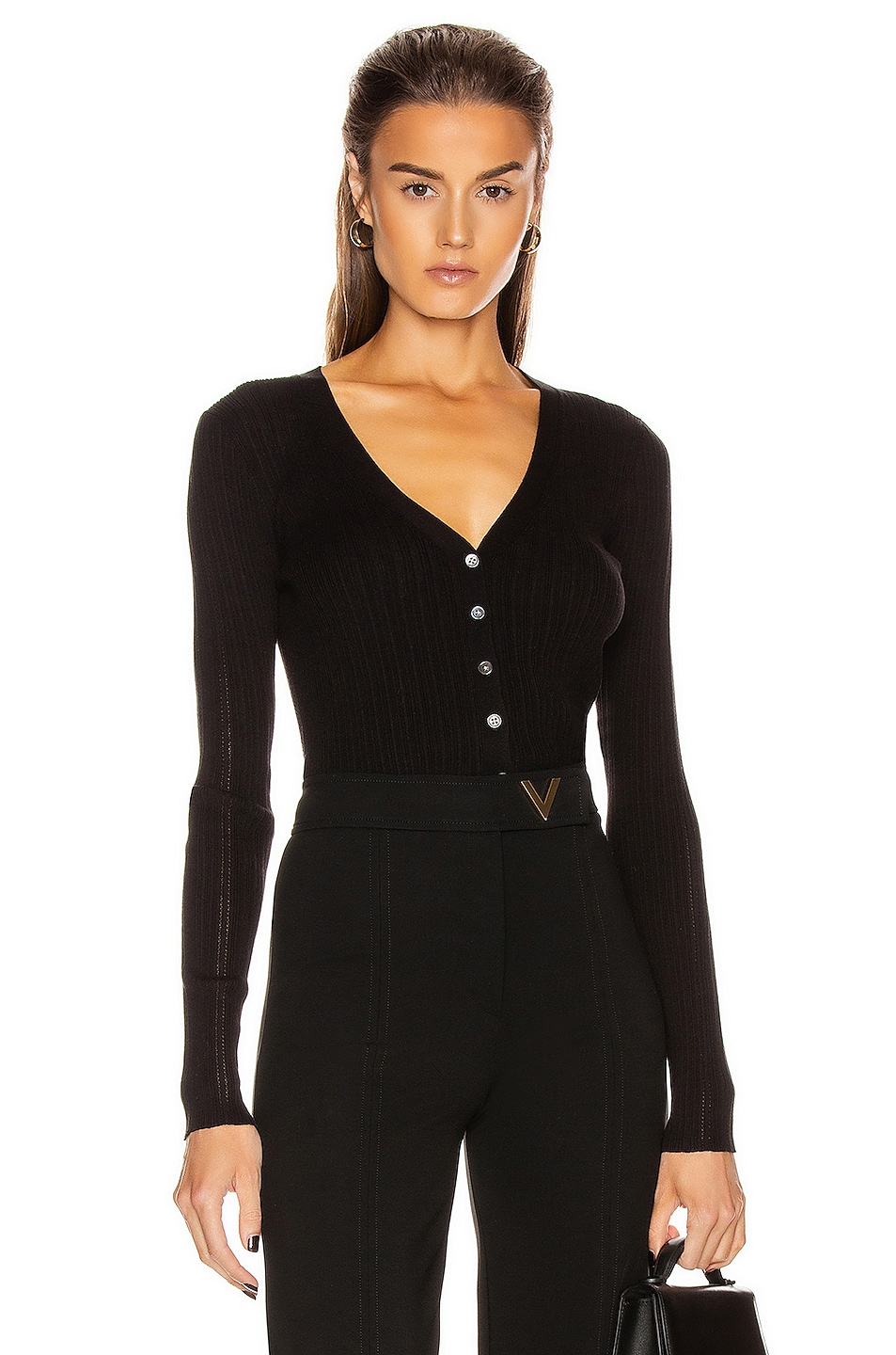 Image 1 of FRAME Mixed Rib Cardigan in Noir