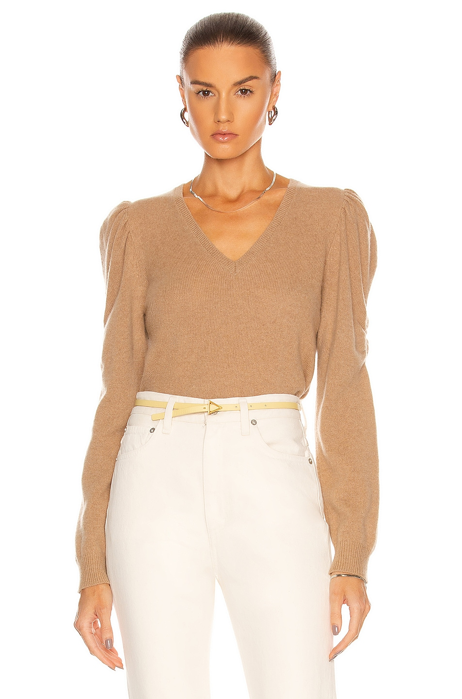 Image 1 of FRAME Long Sleeve Frankie Sweater in Cafe Au Lait
