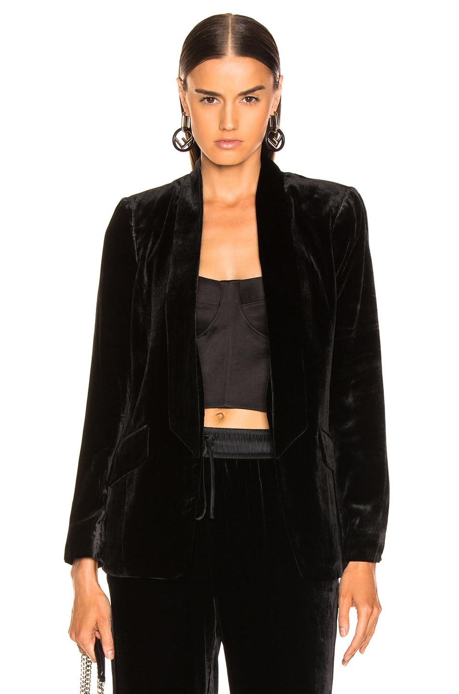 Image 1 of FRAME Velvet Tie Jacket in Noir