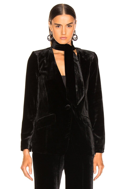 Image 2 of FRAME Velvet Tie Jacket in Noir