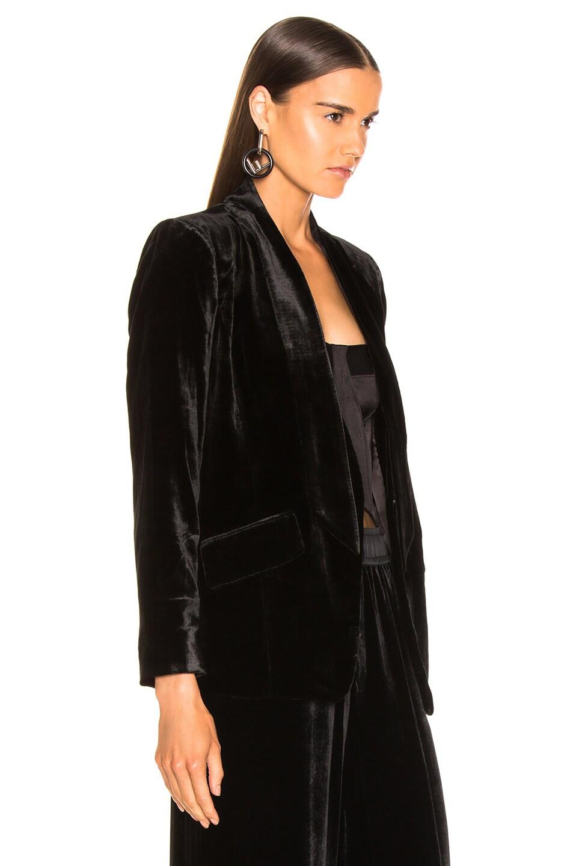 Image 3 of FRAME Velvet Tie Jacket in Noir
