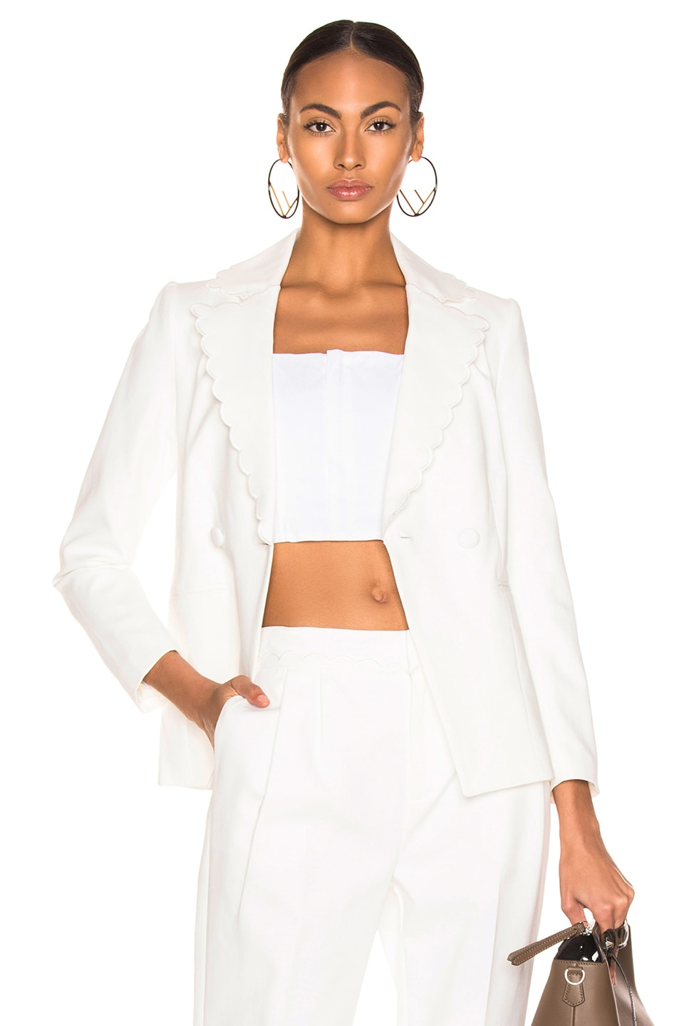 Image 1 of FRAME Scallop Blazer in Off White